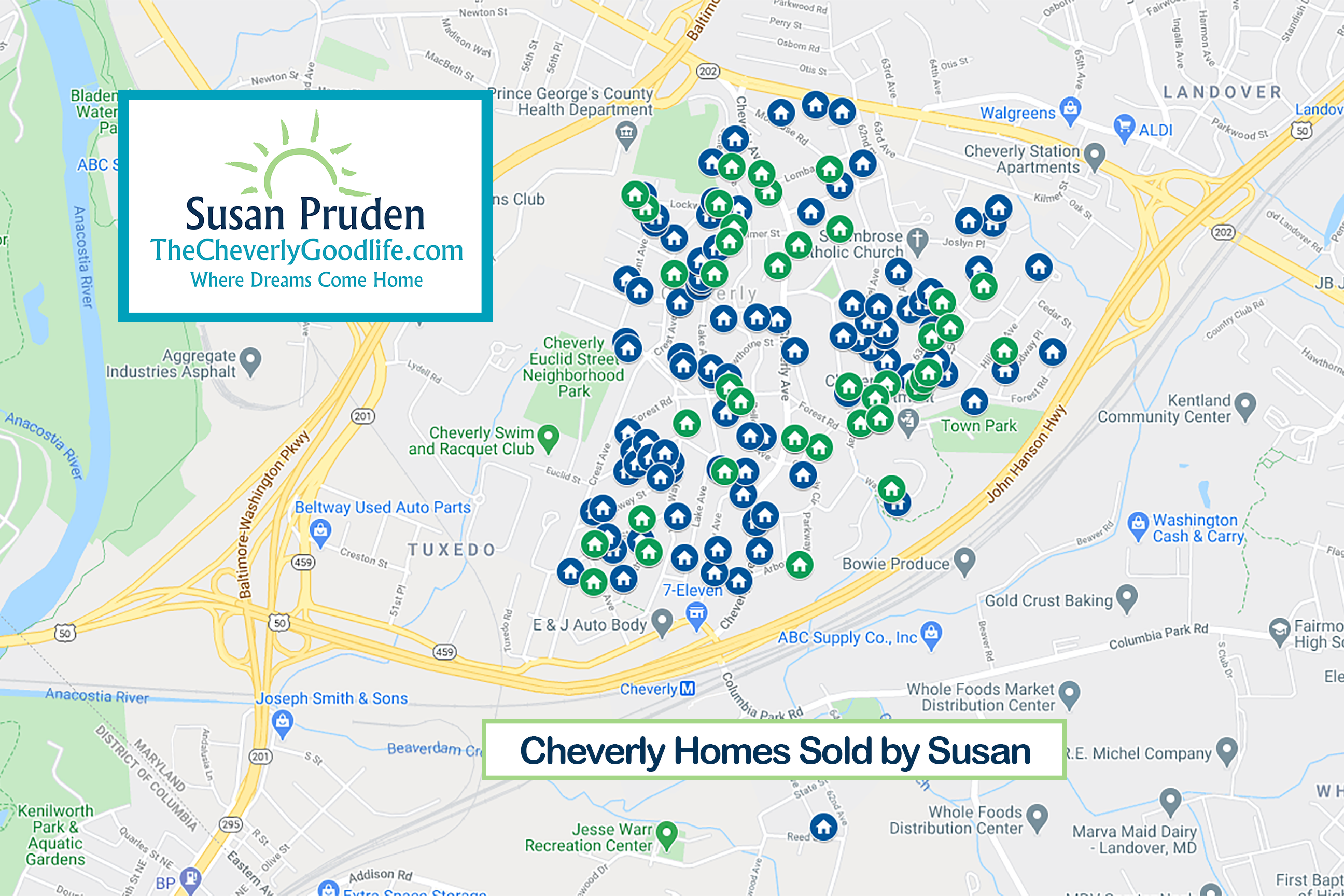 Map of Susan's Cheverly Sales - over 150 Cheverly Homes Sold