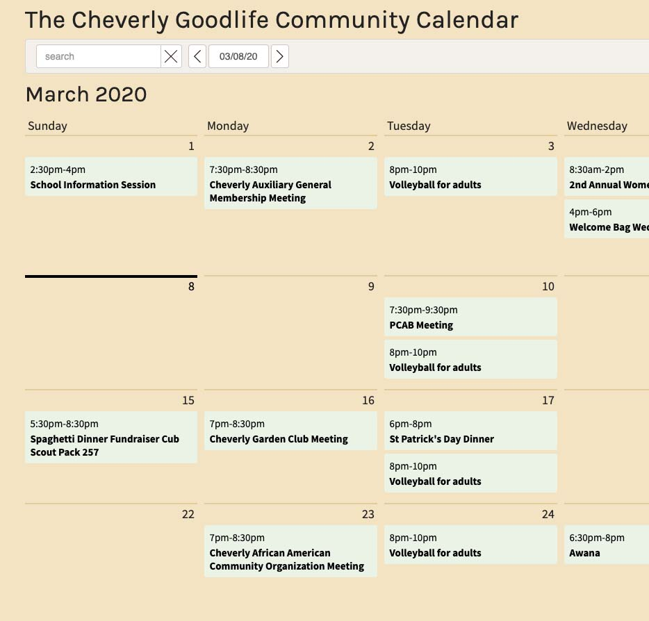 Cheverly Community Calendar